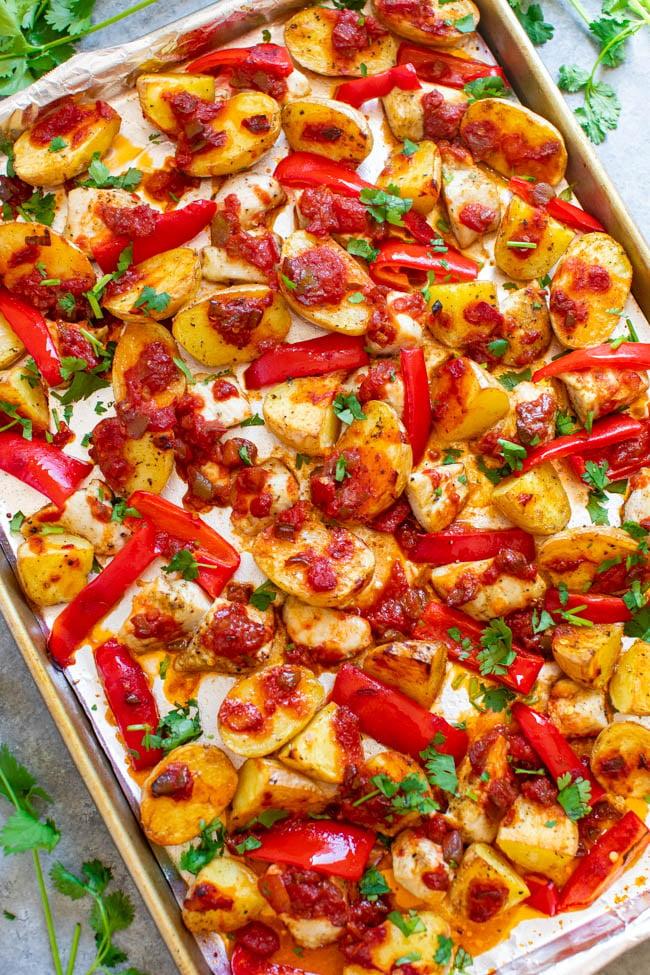 Sheet Pan Salsa Chicken and Potatoes Overhead shot