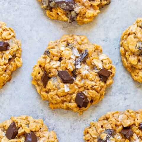 Salted Oatmeal Chocolate Chunk Cookies - Soft, chewy, loaded with chocolate, and the flaky sea salt adds the PERFECT touch!! If you're an oatmeal cookie fan, these will become your new FAVORITES and they're so EASY to make!!