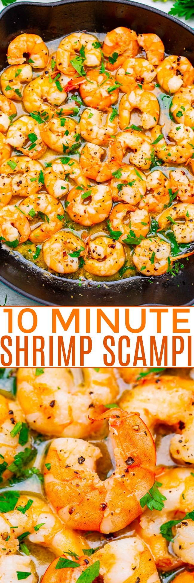 10-Minute Easy Shrimp Scampi - If you thought shrimp scampi was just a dish to order out at a fancier restaurant, think again. You can make mouth-watering shrimp scampi at home in less than 10 minutes!!
