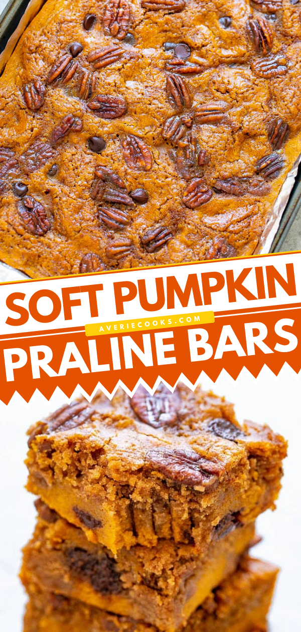 Soft Praline Pumpkin Bars (with Cake Mix!)— SUPER soft pumpkin bars studded with chocolate chips, candied pecans, and plenty of pumpkin pie spice!! A FAST and EASY dessert that feeds a crowd for your fall and winter celebrations!!