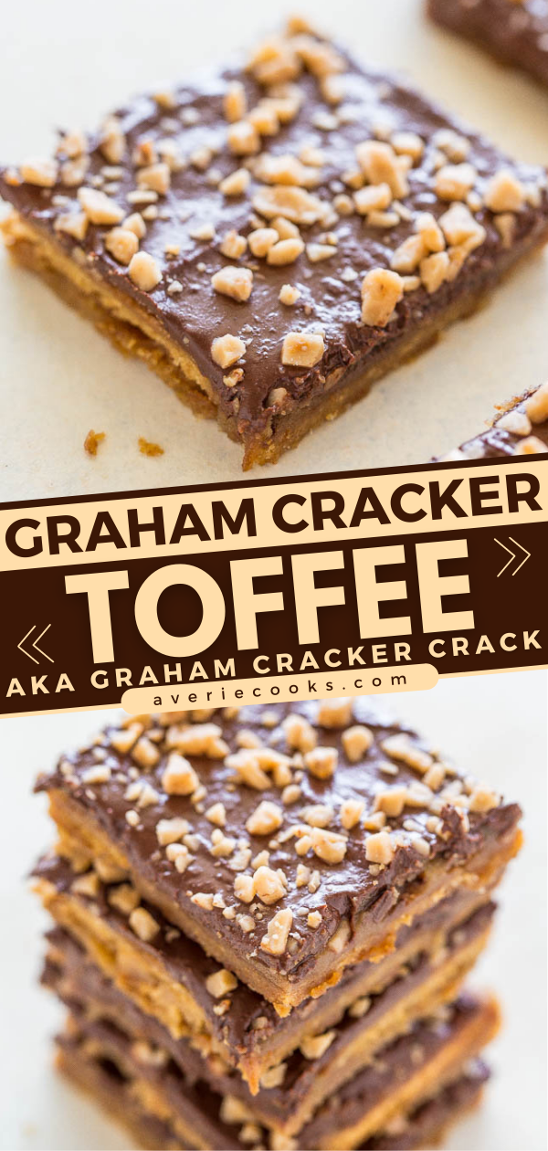 Graham Cracker Toffee Bars— If you're looking for a recipe that will disappear at holiday parties, cookie exchanges, neighborhood potlucks, or school bake sales, this graham cracker toffee is a guaranteed winner!! It's EASY and everyone LOVES it!!