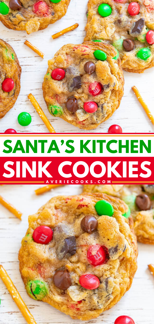 Santa's Kitchen Sink Cookies — Santa and everyone else won't be able to resist these AMAZING cookies loaded with everything but the kitchen sink!! EASY, festive, salty-sweet treats with a FUN ingredients list!!