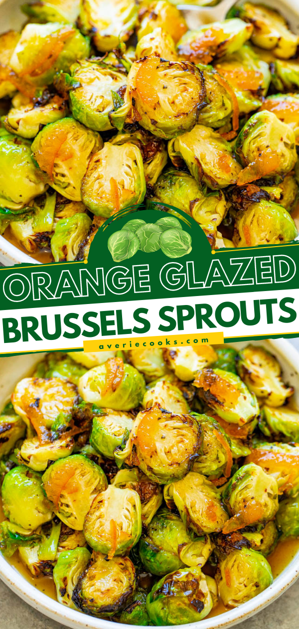 Orange Glazed Brussels Sprouts — A FAST and EASY side dish that jazzes up Brussels sprouts with a citrus twist!! Great for fall and winter holiday entertaining or as HEALTHY weeknight side!!
