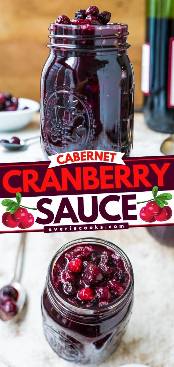 Red Wine Cranberry Sauce— Move over, boring cranberry sauce! Cranberries are so much better with blueberries and wine! Make your own fresh cranberry and blueberry sauce in 30 minutes. It's so EASY, and everyone LOVES it!!