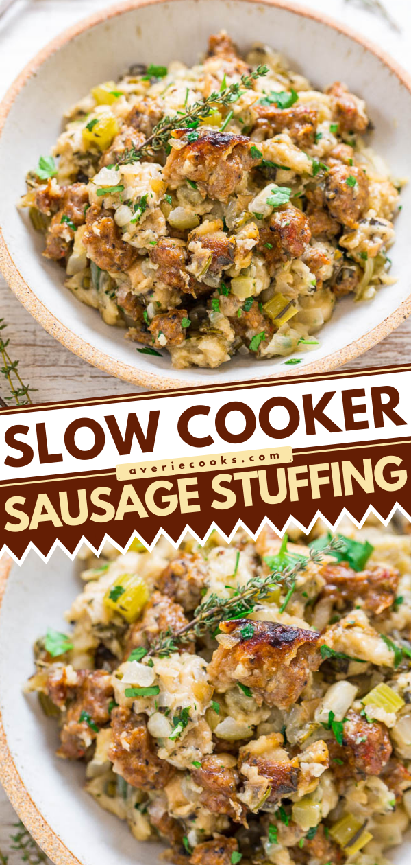 Slow Cooker Sausage Stuffing— This sausage stuffing is super easy to make since the slow cooker does all the hard work for you! There's no sauteing or browning required at all and you can FREE UP YOUR OVEN!!
