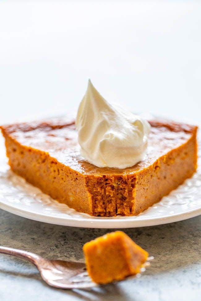 Slice of Crustless Pumpkin Pie with bite taken out