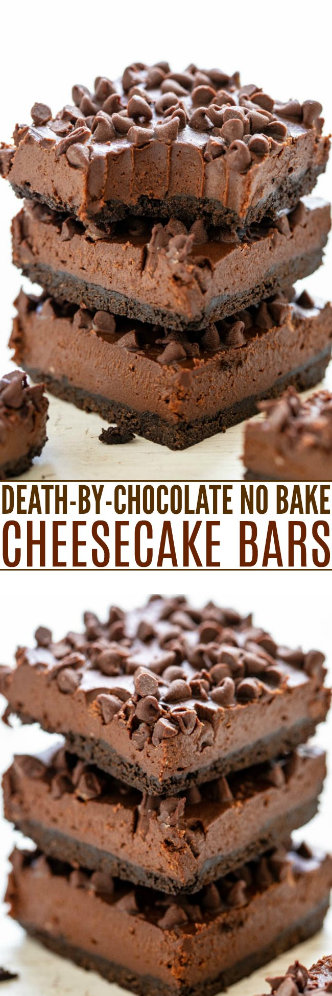 Death-By-Chocolate No Bake Cheesecake Bars - Only for serious chocoholics because they're rich, creamy, decadent, and loaded with chocolate!! NO-BAKE and an easy MAKE-AHEAD dessert!!