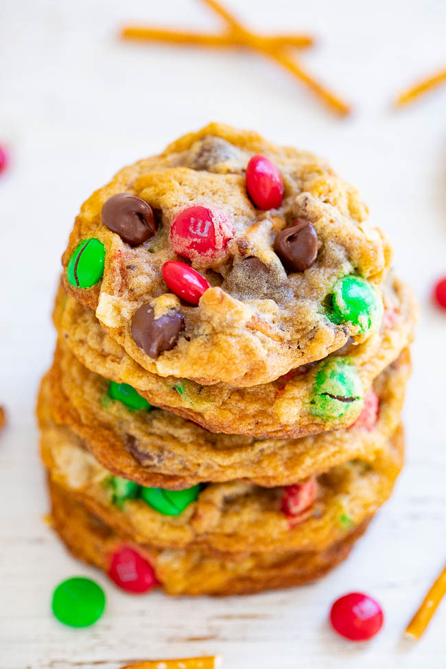 Santa's Kitchen Sink Cookies - Santa and everyone else won't be able to resist these AMAZING cookies loaded with everything but the kitchen sink!! EASY, festive, salty-sweet treats with a FUN ingredients list!!