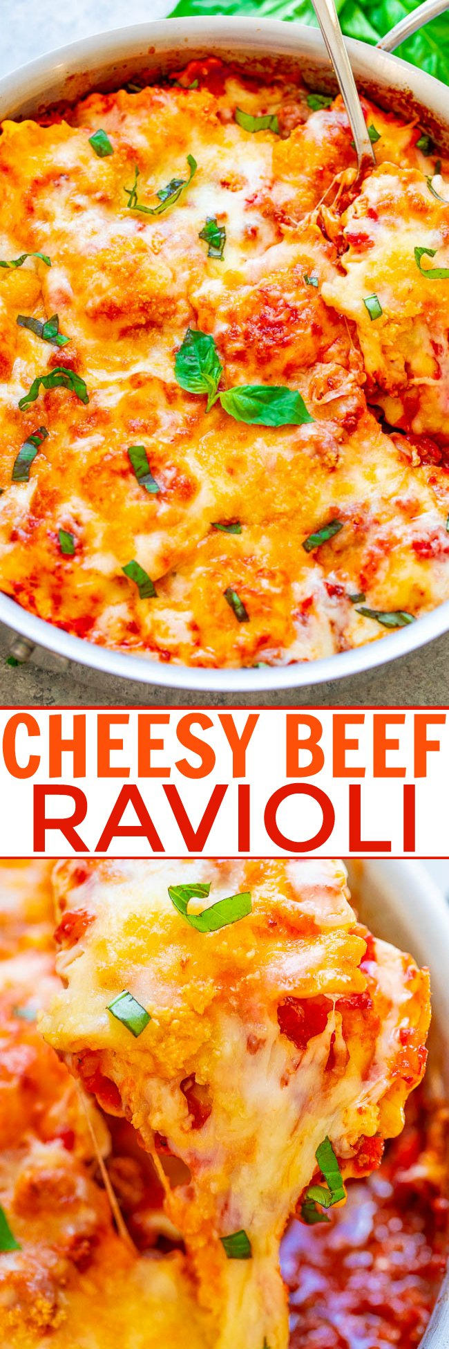 Cheesy Beef Ravioli - EASY, ready in 30 minutes, and it's pure cheesy COMFORT FOOD in every bite!! Makes a big batch and it's perfect for meal prep and planned freezer meals! A guaranteed family FAVORITE you'll want on repeat!!