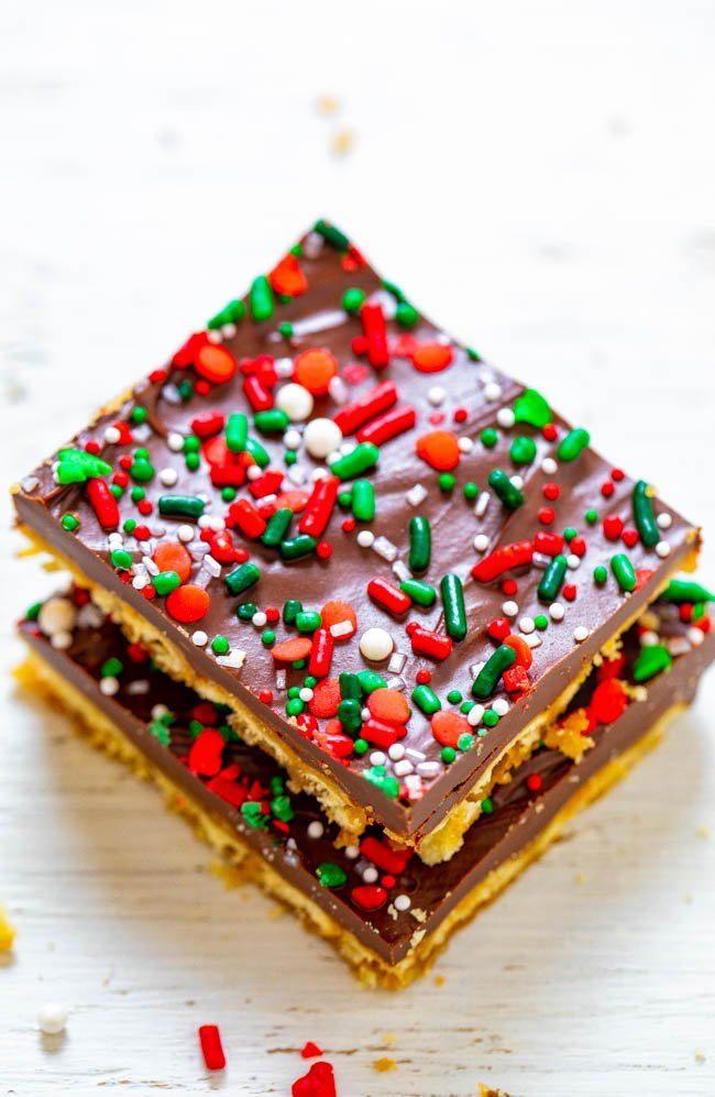 two squares of Christmas crack in a stack