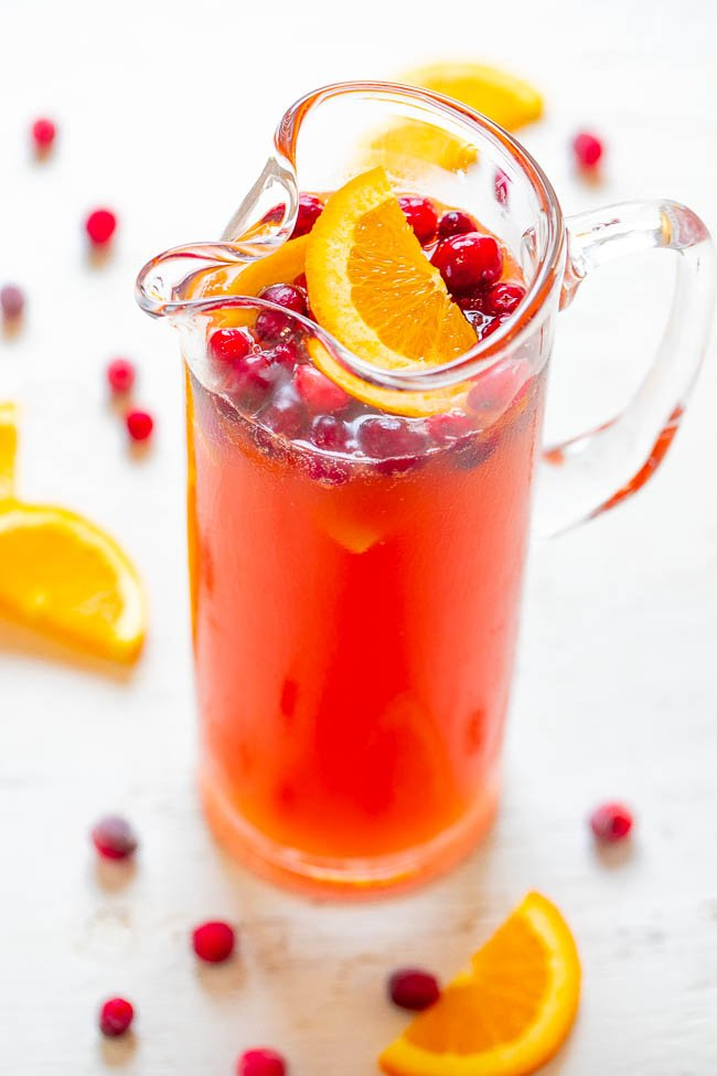Sparkling Christmas Punch - Put some SPARKLE in your holidays with this EASY and FESTIVE punch that everyone loves!! Can be made in strengths ranging from non-alcoholic to knock-you-for-a-punch!!