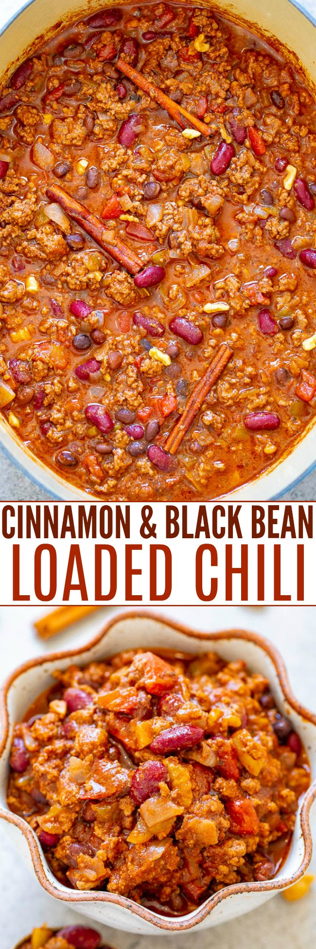 30-Minute Cinnamon and Black Bean Loaded Chili - If you're looking for a unique spin on classic chili, this EASY and DELICIOUS beef chili recipe is the one!! Hearty comfort food that's on the healthier side and perfect for chilly weather!!