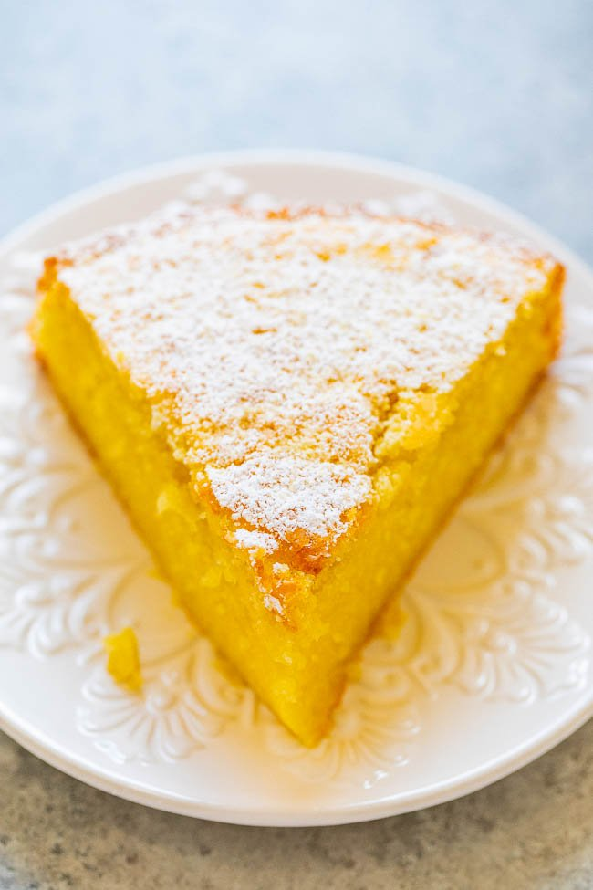 lemon olive oil cake slice on white plate