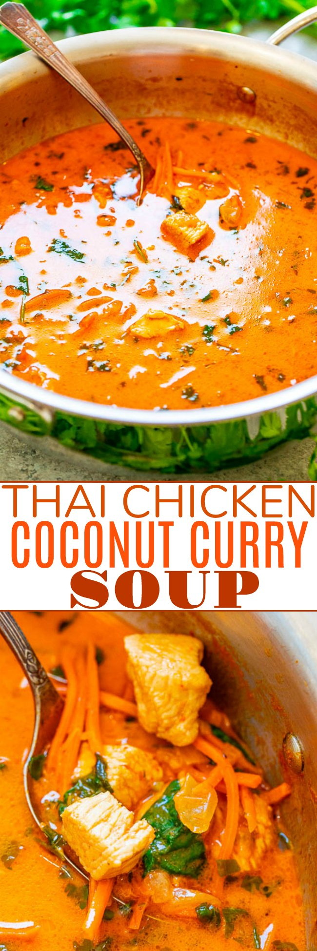 Thai Chicken Coconut Curry Soup - An EASY one pot soup that's ready in 20 minutes and is layered with so many fabulous Thai flavors!! Tastes BETTER than from a Thai restaurant!! It's hearty yet HEALTHY comfort food that tastes AMAZING!!