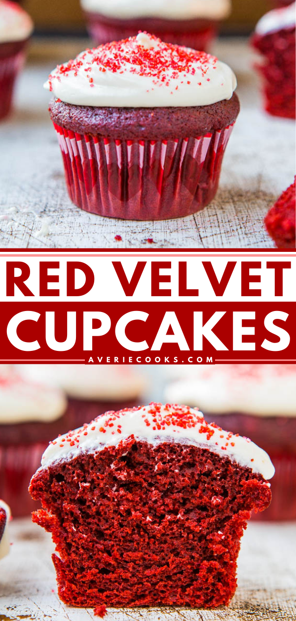 Red Velvet Cupcakes with Cream Cheese Frosting— If you've ever wanted to make red velvet cupcakes from scratch that are as good as those you'd find in a bakery, try this hassle-free recipe!