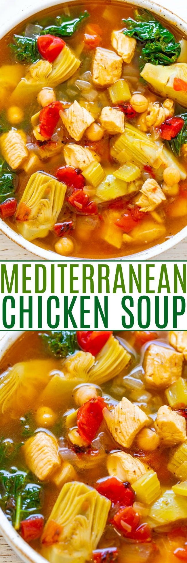 30-Minute Chicken and Vegetable Mediterranean Soup — An EASY soup that's both HEALTHY and HEARTY!! Loaded with tender chicken, vegetables, garbanzo beans, and more! Ready so fast and it's perfect for busy chilly winter weeknights!!