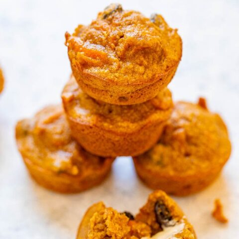 Morning Glory Mini Blender Muffins - They're gluten-free, low sugar, so EASY because they're made in the blender, and taste AMAZING!! You'd never guess they're HEALTHY because they're so moist and flavorful!! Perfect for breakfast, snacks, or as a healthy dessert!!