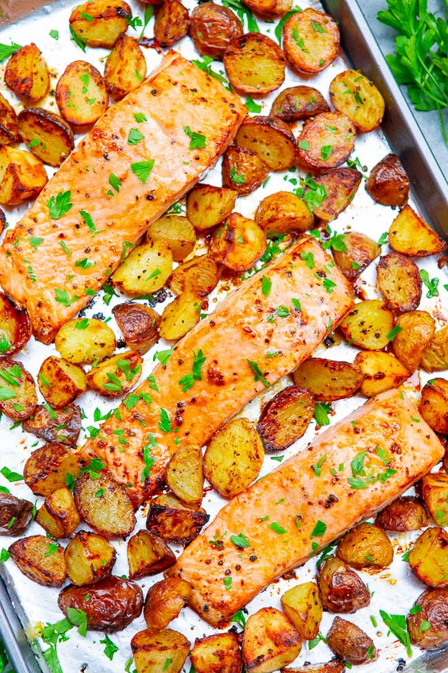 One-Pan Salmon and Potatoes — This baked salmon and potatoes recipe is ready in 25 minutes, the lemon butter and Dijon mustard add so much FLAVOR, and it's made on ONE sheet pan!! EASY comfort food for busy weeknights!!