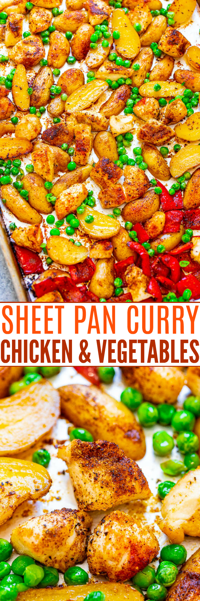 Sheet Pan Curry Chicken and Vegetables - An EASY Indian-inspired meal that's ready in 30 minutes, made on ONE pan, and great for meal prep or busy weeknights!! There's so much CURRY FLAVOR in every bite!!