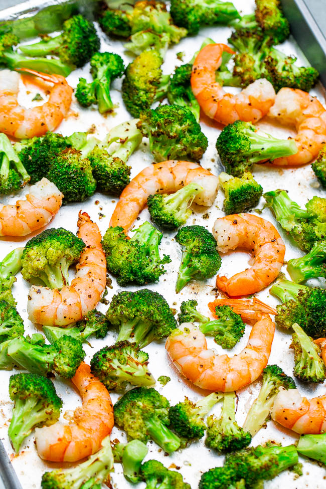 Healthy Shrimp And Broccoli Sheet Pan Recipe Averie Cooks