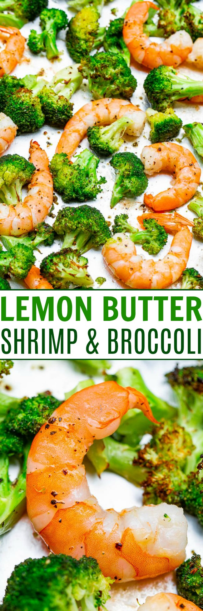 10-Minute Lemon Butter Shrimp and Broccoli - An EASY and healthy meal that's ready in no time, made on ONE sheet pan, and full of FLAVOR!! Perfect for quick lunches and busy weeknights!!
