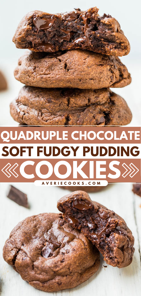 Quadruple Chocolate Pudding Cookies— These pudding cookies are packed with cocoa powder, chocolate chips and chunks, and chocolate pudding mix to deliver seriously chocolatey flavor!