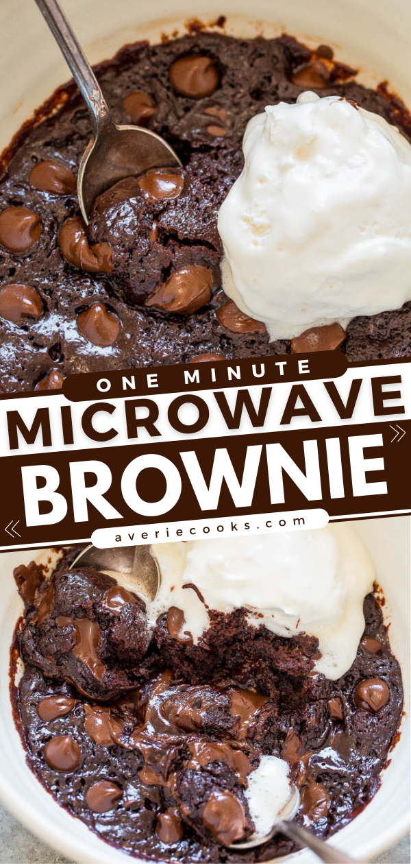 One-Minute Microwave Brownie— When chocolate cravings strike, make this EASY brownie recipe in one bowl, without a mixer, and it's ready in ONE MINUTE!! Rich, FUDGY, decadent, and accidentally vegan!! (no dairy, no butter, no eggs!)