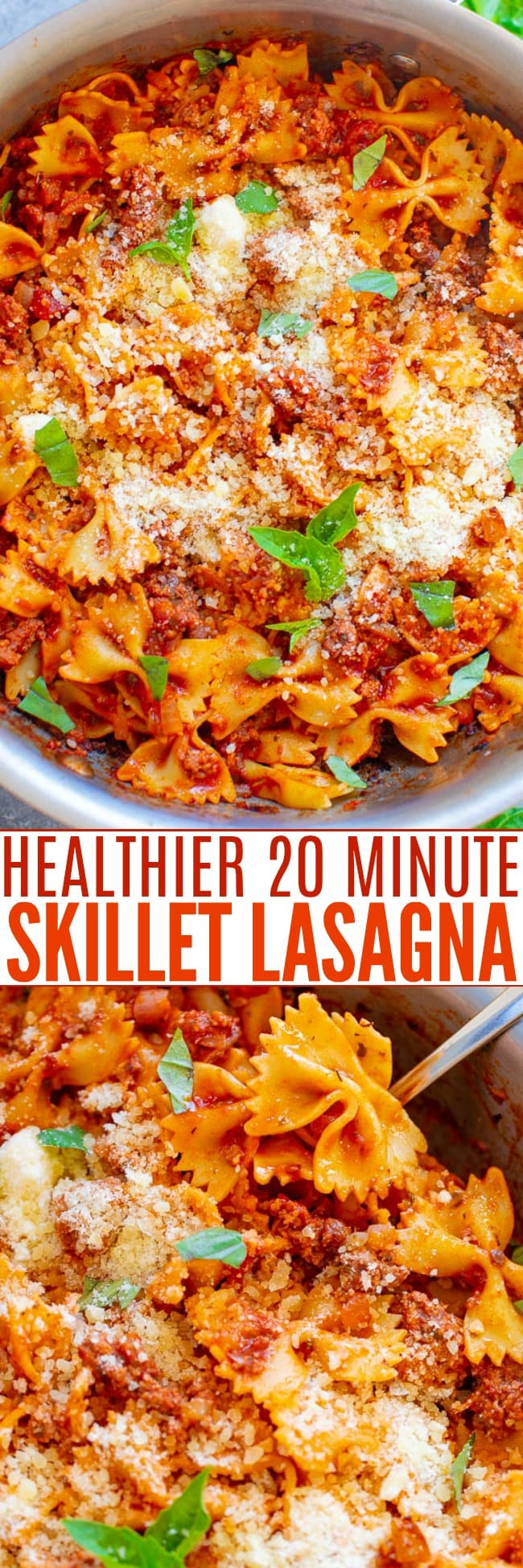 Healthier 20-Minute Skillet Lasagna – A fast, EASY, SKINNIER way to enjoy lasagna – in skillet form!! Comfort food without the guilt! Warm pasta and beef topped with tomato sauce and Parmesan is IRRESISTIBLE!!