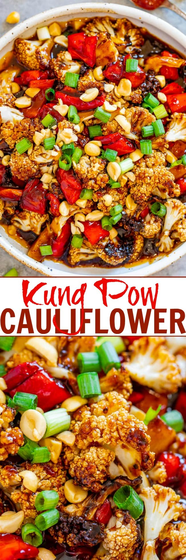 Kung Pao Cauliflower - An EASY recipe that has salty-sweet-tangy-spicy flavors all in one!! Don't call for takeout when you can make this HEALTHY dish at home in 20 minutes! You won't believe how AUTHENTIC it tastes!!