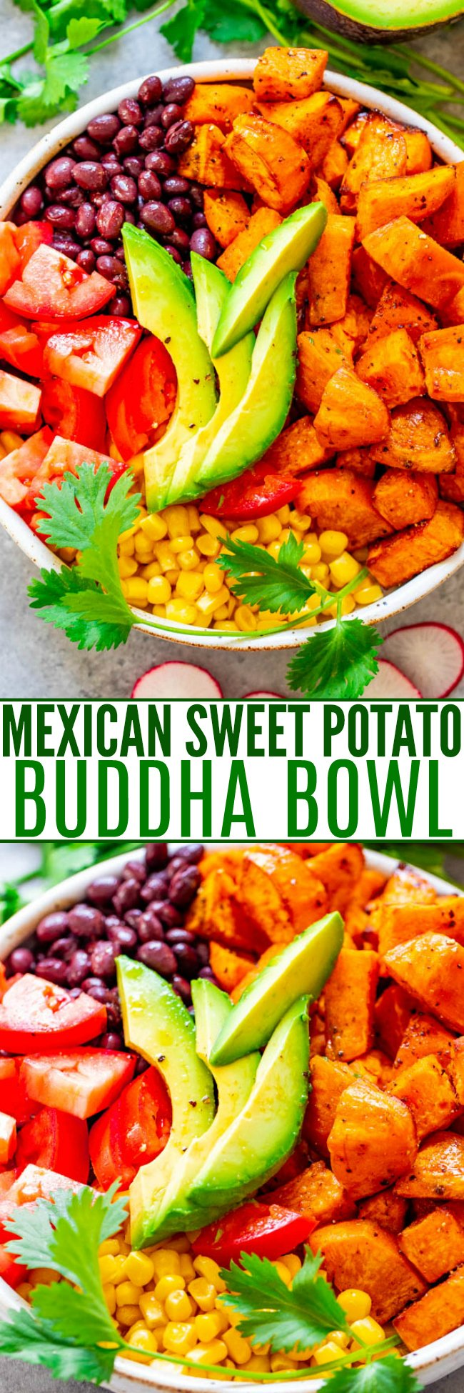 Mexican Sweet Potato and Black Bean Buddha Bowl - A HEALTHY and EASY alternative to a salad!! Loaded with Mexican-inspired ingredients and topped with a light lime-cumin vinaigrette! Ready in 20 minutes and perfect for MEAL PREPPING!!