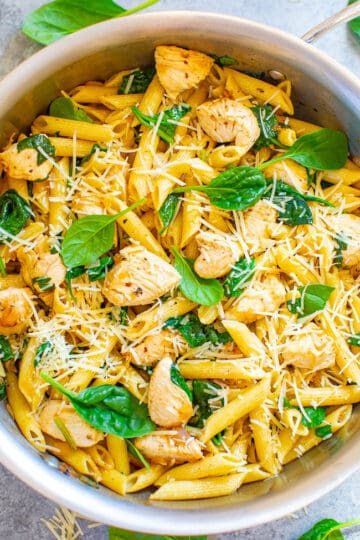 Parmesan Chicken and Spinach Pasta