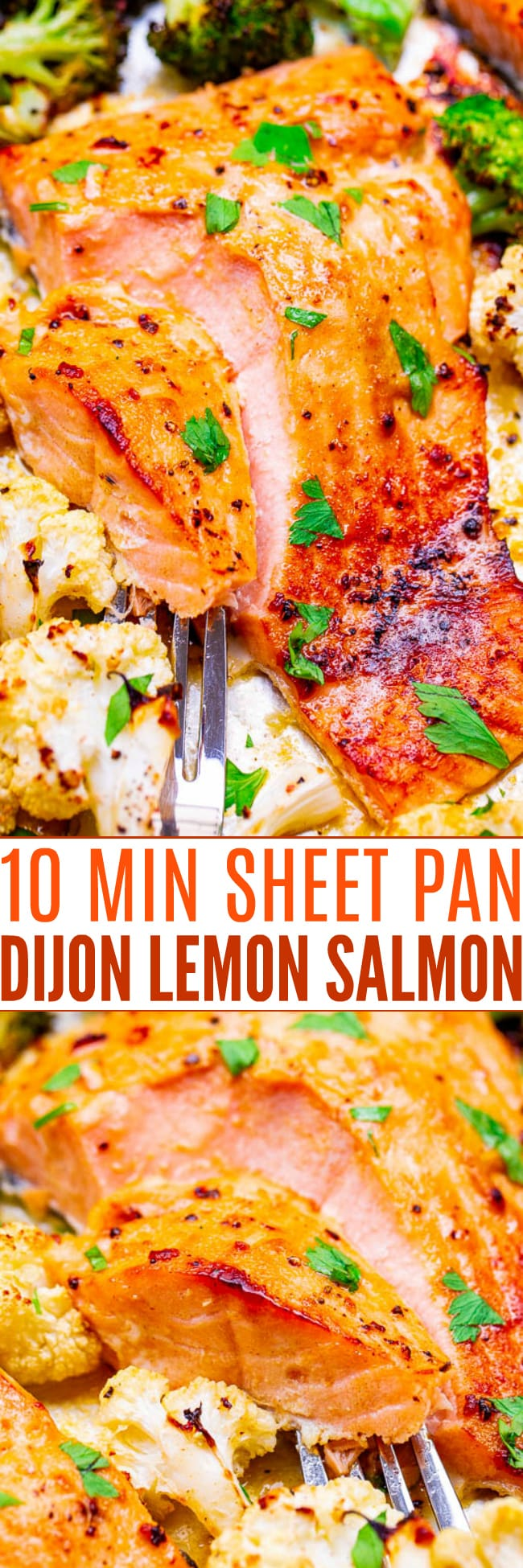 10-Minute Sheet Pan Dijon Lemon Salmon and Vegetables - Juicy salmon and crisp-tender vegetables coated with a buttery Dijon honey lemon sauce for an explosion of FLAVOR!! So EASY and ready so FAST!!