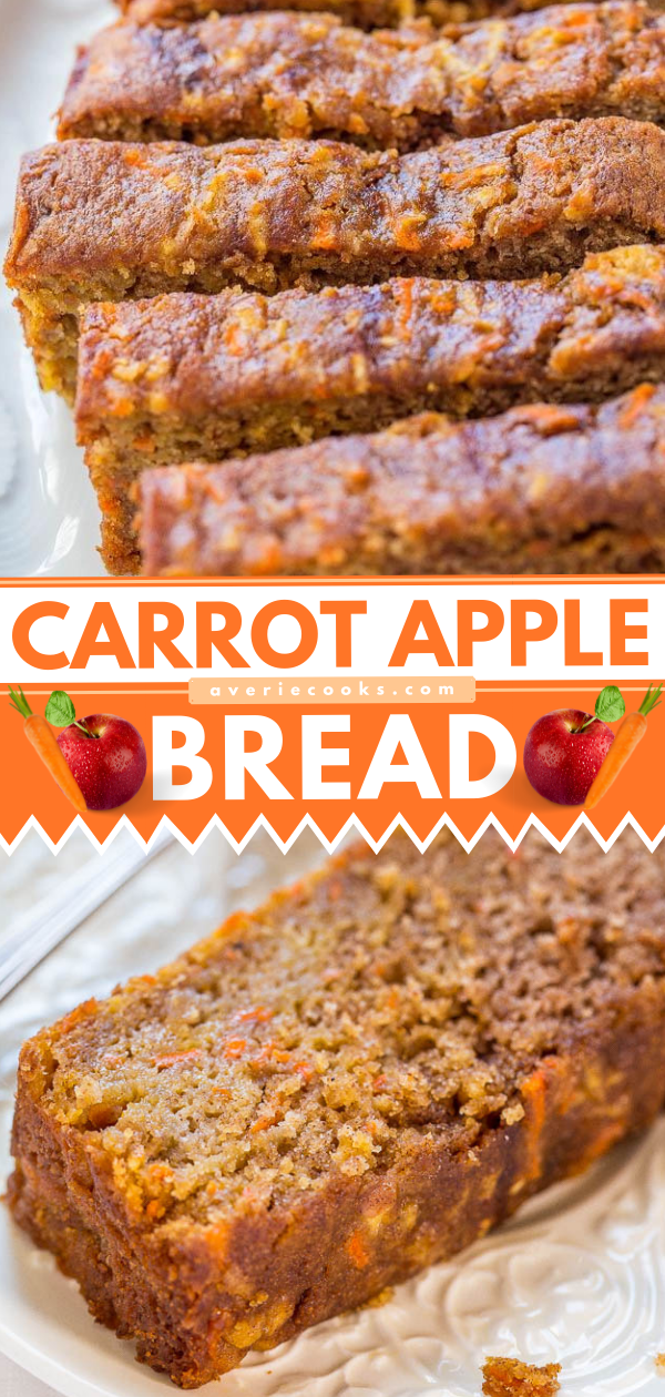 Apple Carrot Bread— This apple carrot bread tastes like carrot cake that's been infused with apples. It's a no mixer recipe that goes from bowl to oven in minutes!