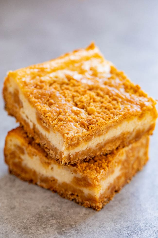 a stack of two butterscotch cheesecake bars.