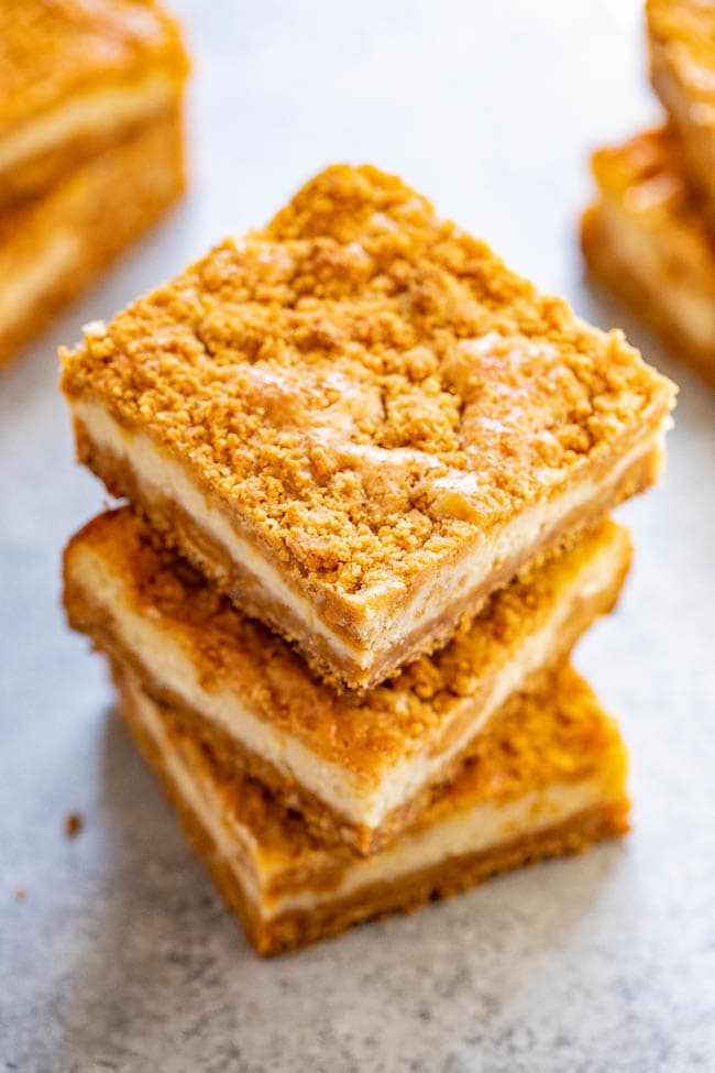 a stack of three butterscotch bars, seen from the top.