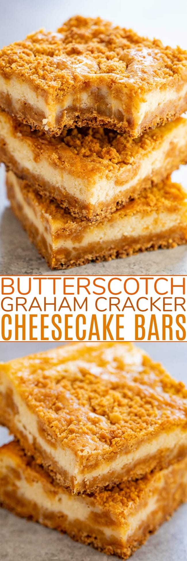 Butterscotch Cheesecake Bars — A super chewy crust made with butterscotch chips and graham cracker crumbs that also doubles as the topping!! The silky smooth tangy cheesecake layer is the PERFECT contrast! A simple recipe that FAR EXCEEDED expectations!!