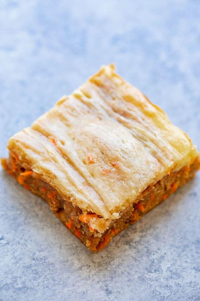 Carrot Cake Cream Cheese Blondies overhead shot.