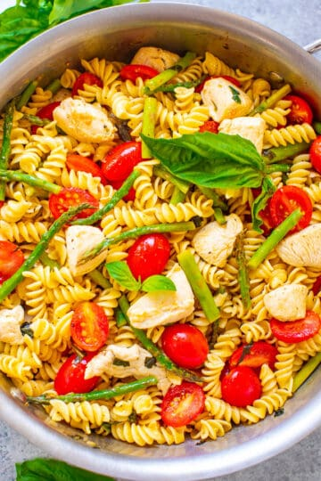 Chicken and Pasta with Asparagus and Tomatoes