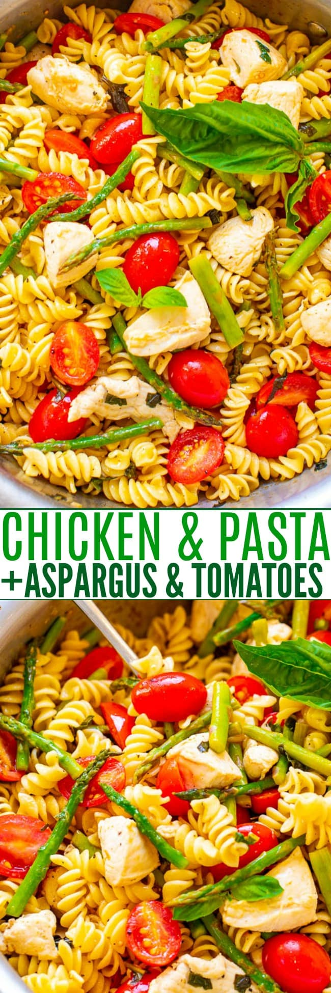 Chicken and Pasta with Asparagus and Tomatoes - EASY, ready in 20 minutes, and the asparagus, tomatoes, and basil keep this chicken and pasta recipe tasting LIGHTER and FRESHER!! Perfect for picnics, potlucks, and busy weeknight dinners!!