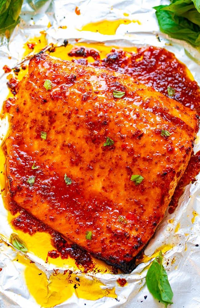 Overhead shot of Sheet Pan Chili Dijon Salmon in foil