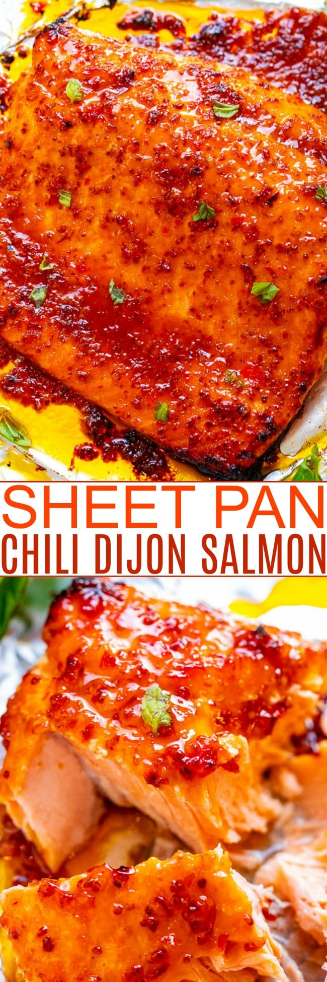 Sheet Pan Chili Dijon Salmon – A 5-ingredient salmon recipe that tastes 5-STARS and is ready in 25 minutes!! Loaded with layers of incredible flavor from two types of chili sauce, Dijon mustard, and honey! You'll LOVE this salmon recipe!!