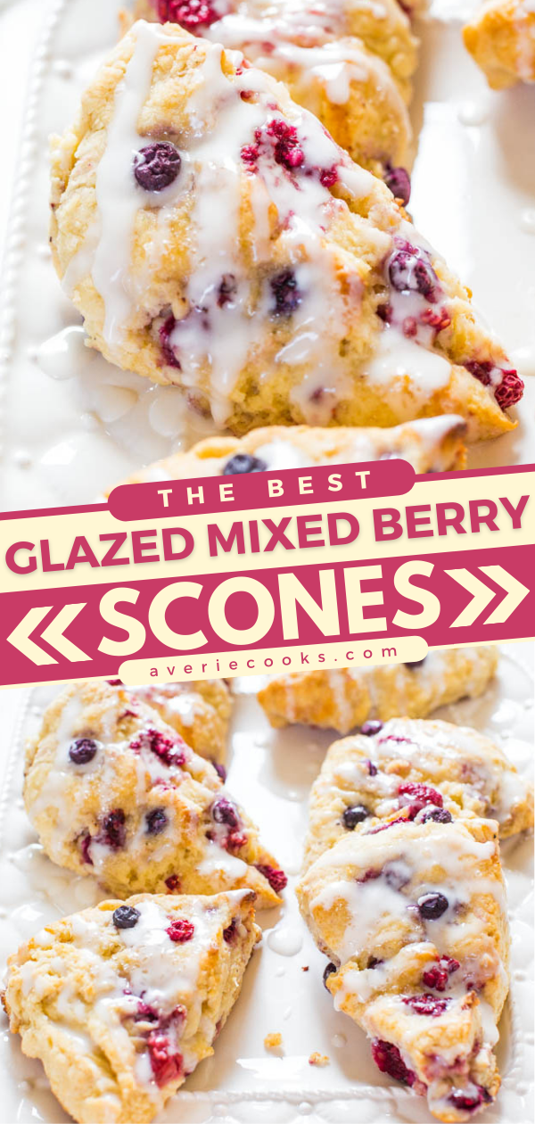 The Best Scone Recipe — These homemade scones are incredibly EASY, NOT DRY, you don't need to dirty a mixer, and are guaranteed-to-disappear weekend breakfast or brunch!! Made with common pantry and fridge ingredients and you can use frozen fruit!!