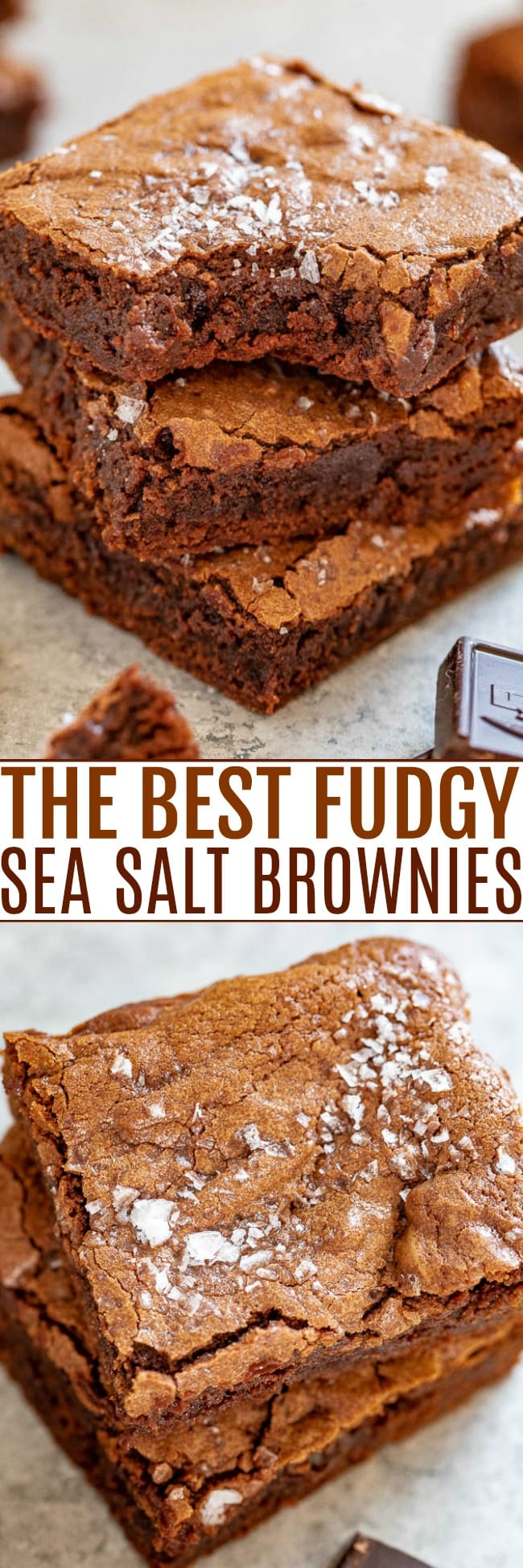 The Best Fudgy Sea Salt Brownies - Only 7 ingredients in these EASY, one-bowl, no-mixer brownies that are MY NEW FAVORITE BROWNIES!! Super fudgy, slightly chewy edges, crackly top, and ultra dark chocolate paired with sea salt for the HOLY GRAIL of brownies!!
