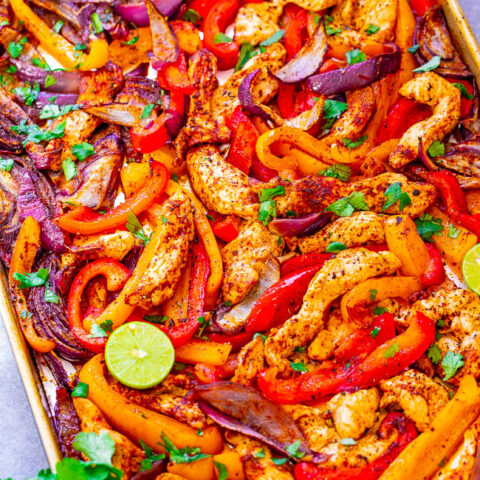 25-Minute Sheet Pan Chicken Fajitas — EASY, ready in no time, tastes AUTHENTIC, and made on ONE sheet pan to keep things simple - especially on busy nights!! Who needs a Mexican restaurant when you can make fajitas this GOOD and healthier at home!!