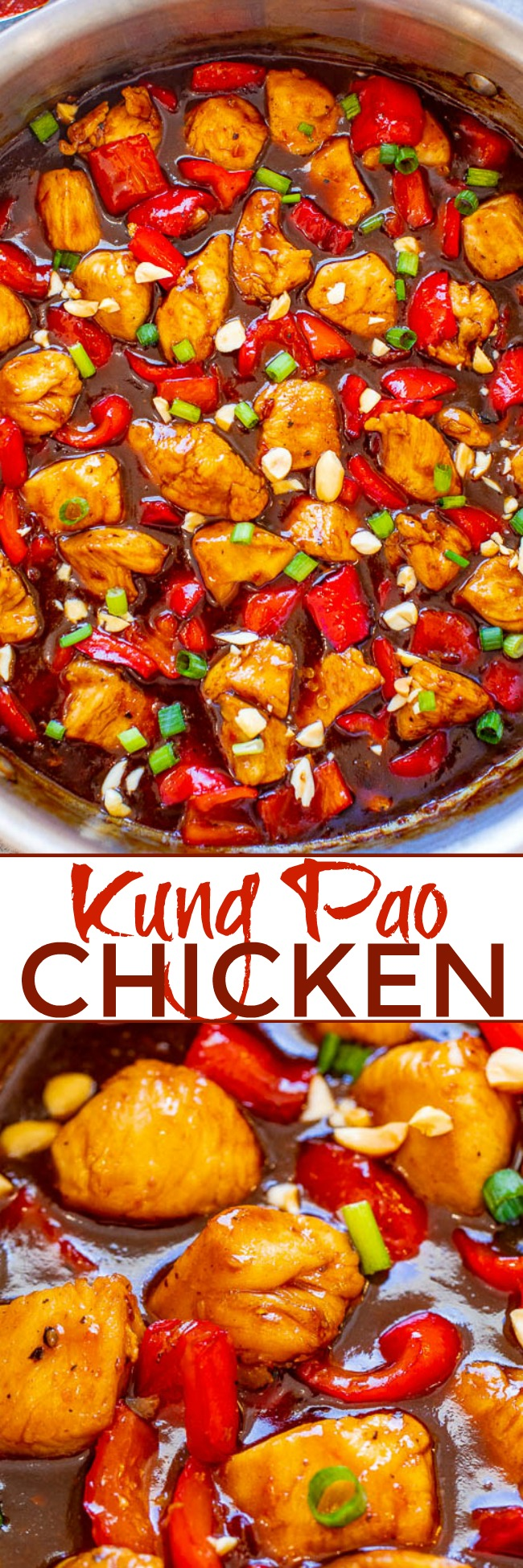Kung Pao Chicken - An easy BETTER-THAN-TAKEOUT recipe with juicy chicken and such a flavorful sauce!! Don't call for takeout when you can make this HEALTHIER version at home in 20 minutes! So AUTHENTIC tasting!!
