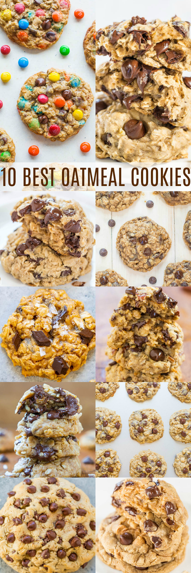 10 Best Oatmeal Cookie Recipes - Every single recipe is for soft, chewy cookies that are loaded with CHOCOLATE!! No raisins in sight! All are EASY, family FAVORITES, and made with common pantry ingredients!!