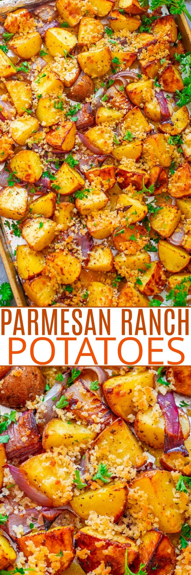 Crispy Parmesan Ranch Potatoes — The BEST roasted potatoes you'll ever eat!! Tender potatoes seasoned with ranch mix and topped with a CRISPY Parmesan breadcrumb topping! So DELICIOUS you don't even need a main course!!
