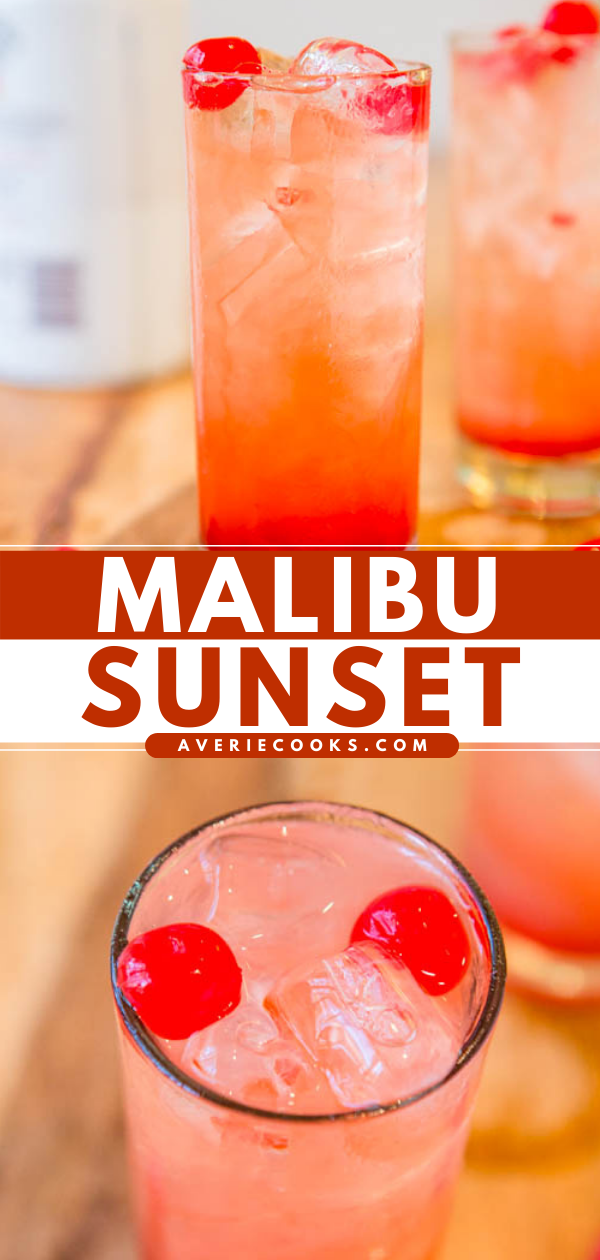 Malibu Sunset —A fun, fruity, easy Malibu drink recipe!! Because there's really no wrong way to do pineapple, orange juice,coconut rum, grenadine, and cherries. If you've never had this fruity alcoholic drink before, you should change that!!