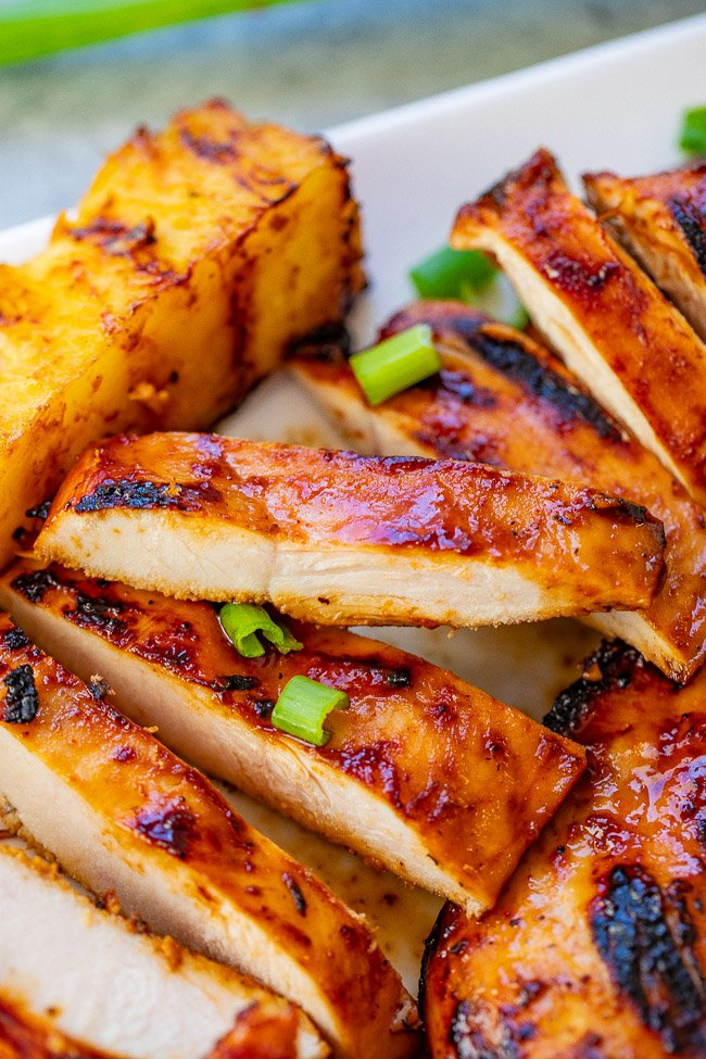 Grilled Aloha Chicken and Pineapple - Transports you to Hawaii with every bite of this tender, juicy chicken and the grilled pineapple seals the deal!! EASY, HEALTHY, ready in 10 minutes, and perfect for summer parties, barbecues, and casual weeknight dinners!!