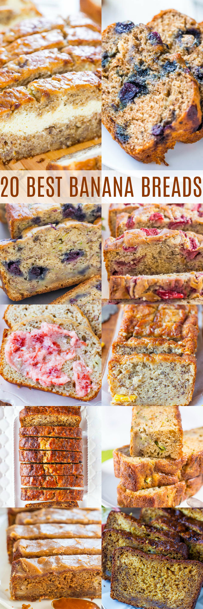 The 20 BEST Banana Bread Recipes - Have ripe bananas? These recipes are just what you need - including banana bread with blueberries, zucchini, carrots, pumpkin, in a slow cooker, in an air fryer - these recipes have you covered!! Bonus: every single recipe is a no-mixer recipe!!